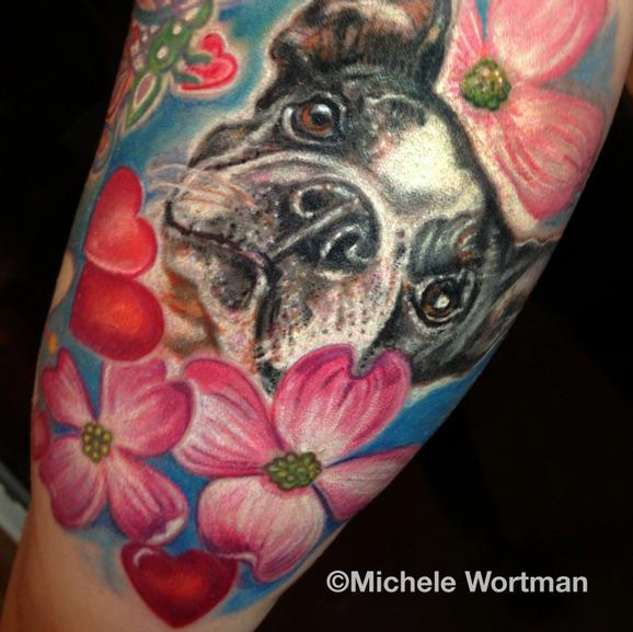 Michele Wortman - Boston terrier tattoo with flowers